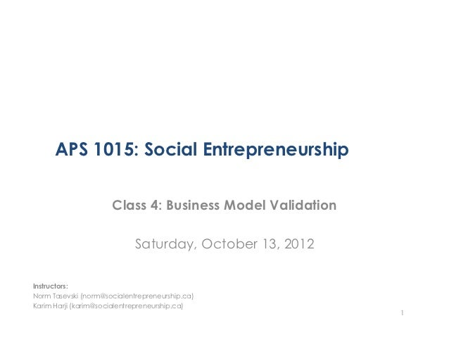 APS1015H Class 4 - Business Model Validation