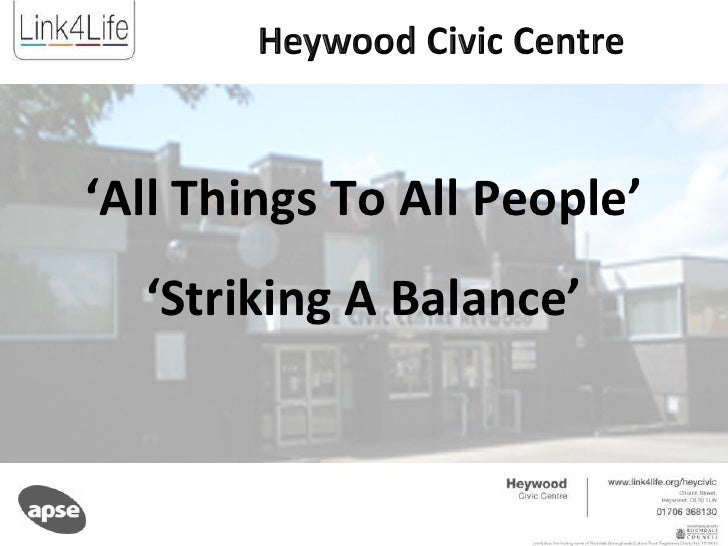 ' All Things To All People' ' Striking A Balance'