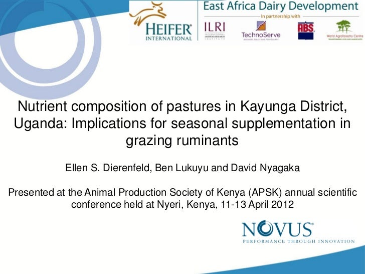Nutrient composition of pastures in Kayunga District, Uganda: Implications for seasonal supplementation in grazing ruminants