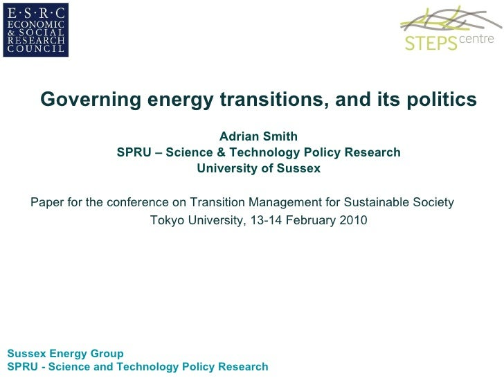Governing energy transitions, and its politics