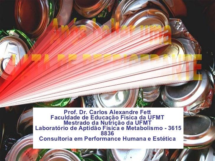Prof. Dr. Carlos Alexandre Fett   Faculdade de Educação Física da UFMT  Mestrado da Nutrição da UFMT   Laboratório de Apti...