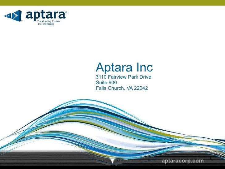 Aptara Inc 3110 Fairview Park Drive Suite 900 Falls Church, VA 22042 aptaracorp.com