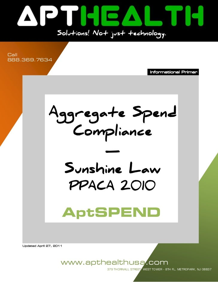 Aggregate Spend / Physician Spend Sunshine Law Compliance