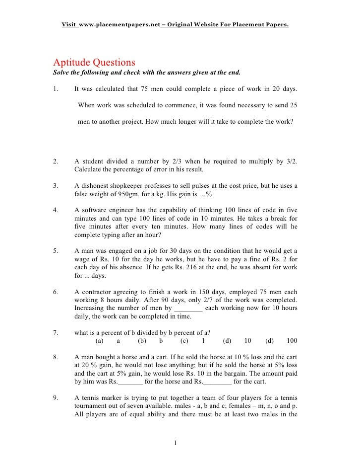 Visit www.placementpapers.net – Original Website For Placement Papers.     AAptitude QuestionsSolve the following and chec...