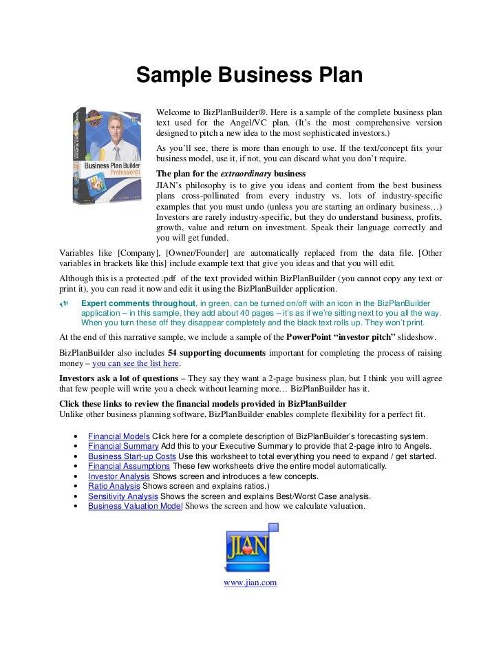 BUSINESS PLAN SAMPLE - InterestingPage