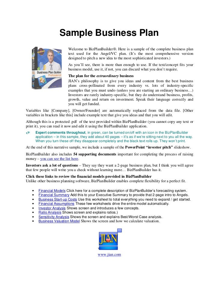 Sample of the business plan