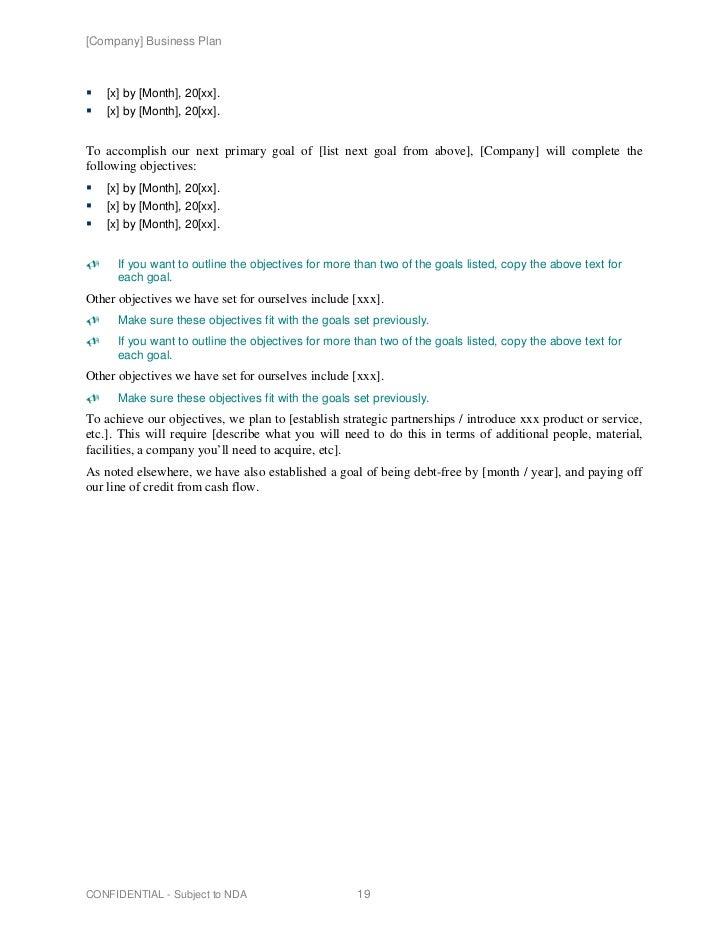Entrepreneur business plan example