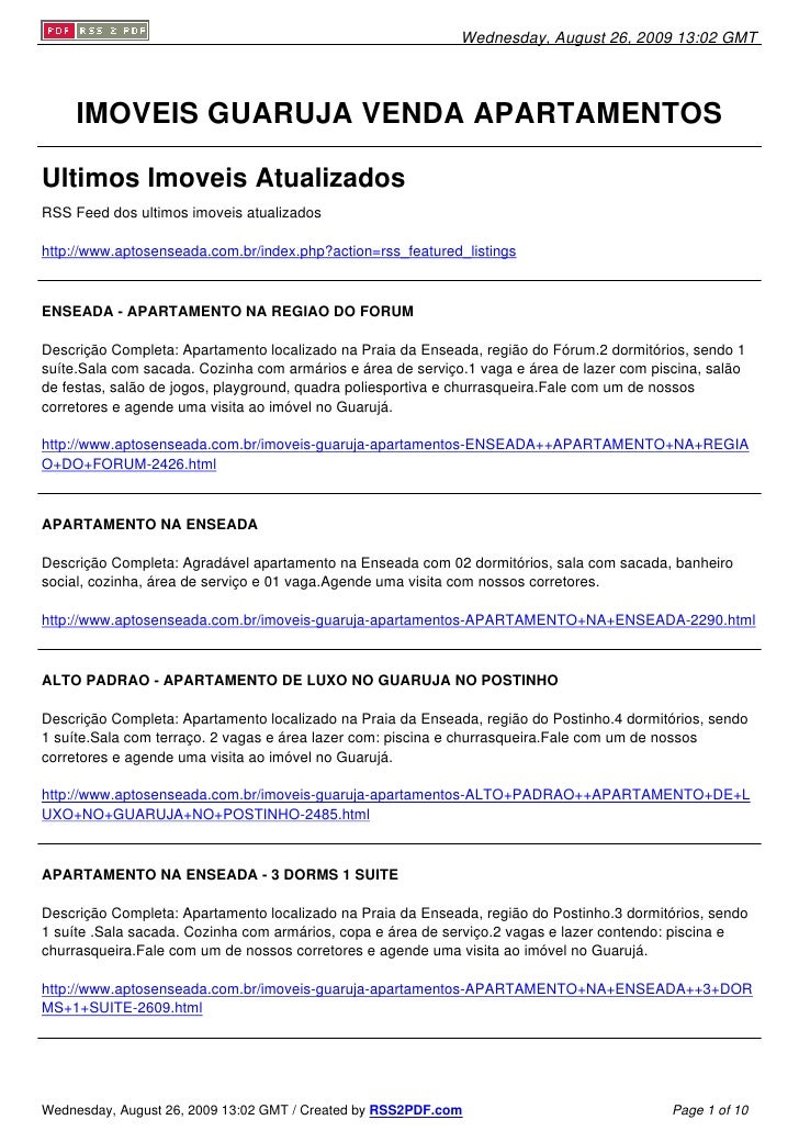 Wednesday, August 26, 2009 13:02 GMT          IMOVEIS GUARUJA VENDA APARTAMENTOS  Ultimos Imoveis Atualizados RSS Feed dos...