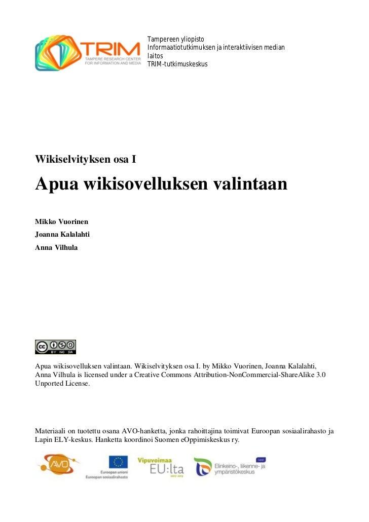 Apua wikisovelluksen valintaan_wikiselvityksen_osa_i