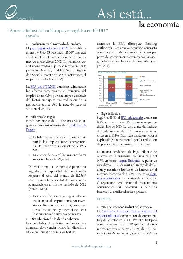 Apuesta industrial en Europa y energética en EE.UU. (Así está la economía Feb 2014)