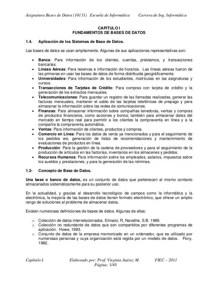 Asignatura Bases de Datos (10131) Escuela de Informática       Carrera de Ing. Informática                                ...