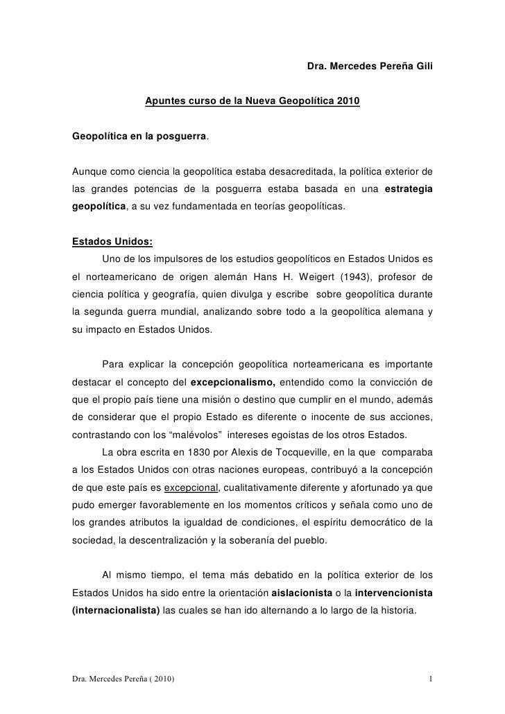 Dra. Mercedes Pereña Gili                       Apuntes curso de la Nueva Geopolítica 2010   Geopolítica en la posguerra. ...