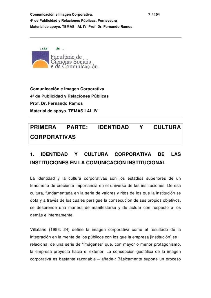 Apuntes Alumnos 4º Publicidad. Imagen Corporativa. Prof. Dr. Fernando Ramos Fernández