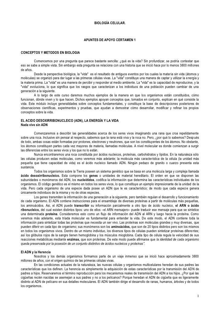 BIOLOGÍA CELULAR.                                                   APUNTES DE APOYO CERTAMEN 1   CONCEPTOS Y METODOS EN B...