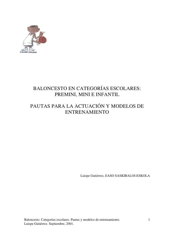 Apuntes Y Ejercicios De Baloncesto Formativo  Premini, Mini E Infantil