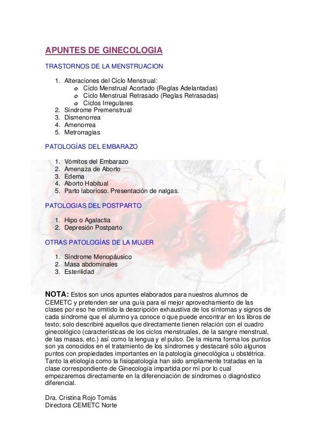 APUNTES DE GINECOLOGIATRASTORNOS DE LA MENSTRUACION1. Alteraciones del Ciclo Menstrual:o Ciclo Menstrual Acortado (Reglas ...