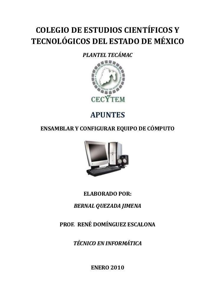 COLEGIO DE ESTUDIOS CIENTÍFICOS Y TECNOLÓGICOS DEL ESTADO DE MÉXICO               PLANTEL TECÁMAC                     APUN...