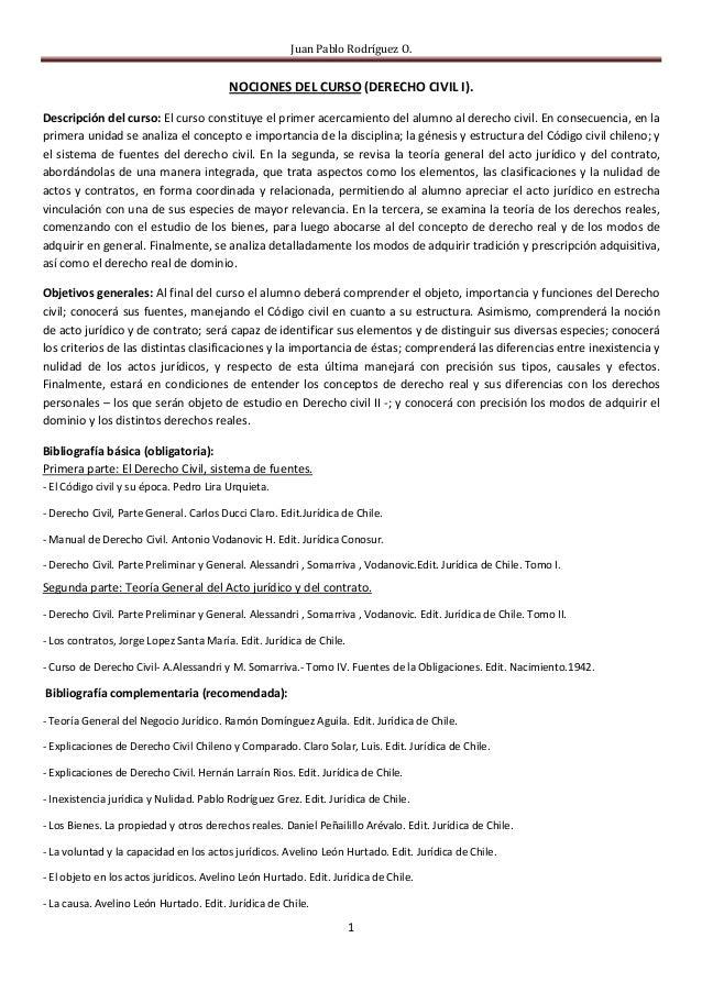 Juan Pablo Rodríguez O.                                         NOCIONES DEL CURSO (DERECHO CIVIL I).Descripción del curso...