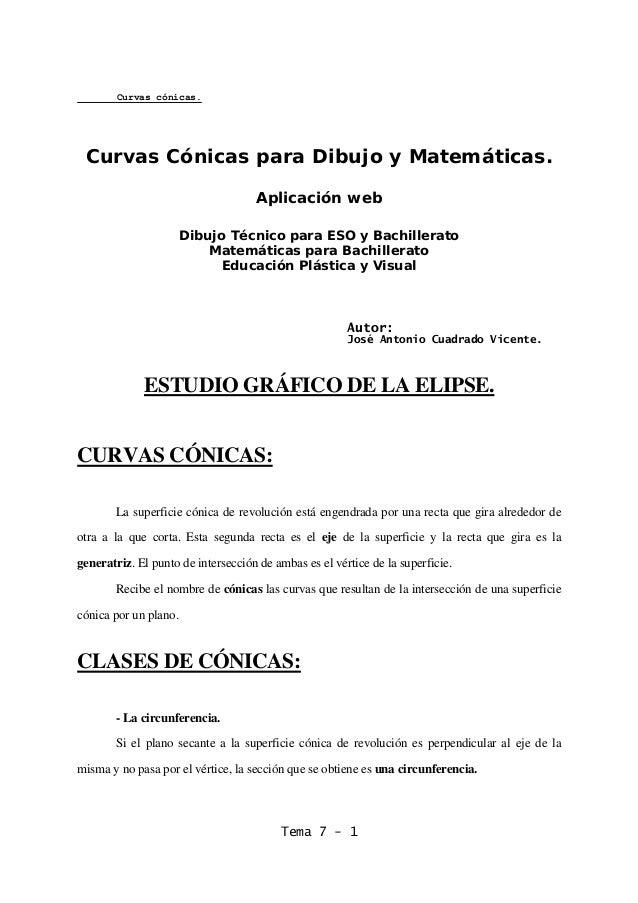 Curvas cónicas. Tema 7 - 1 Curvas Cónicas para Dibujo y Matemáticas. Aplicación web Dibujo Técnico para ESO y Bachillerato...