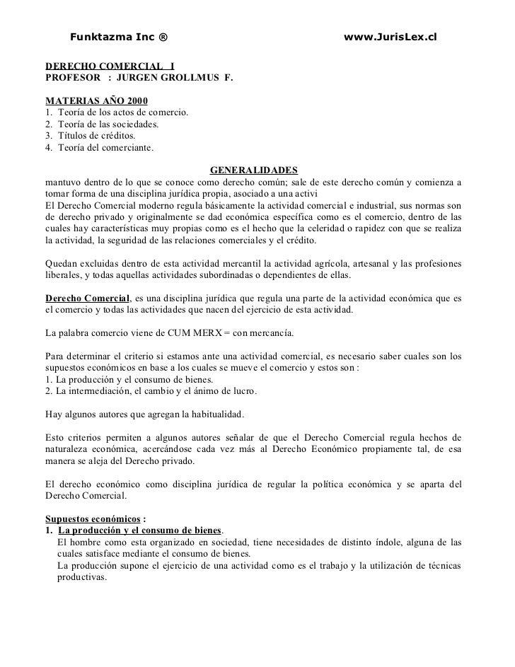 Funktazma Inc ®                                                    www.JurisLex.clDERECHO COMERCIAL IPROFESOR : JURGEN GRO...