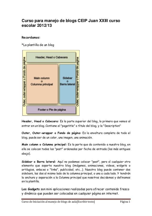 Curso para manejo de blogs CEIP Juan XXIII cursoescolar 2012/13Recordamos:*La plantilla de un blogHeader, Head o Cabecera:...