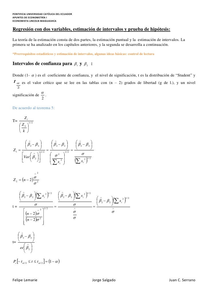 Apuntes de econometría i (segunda parte)