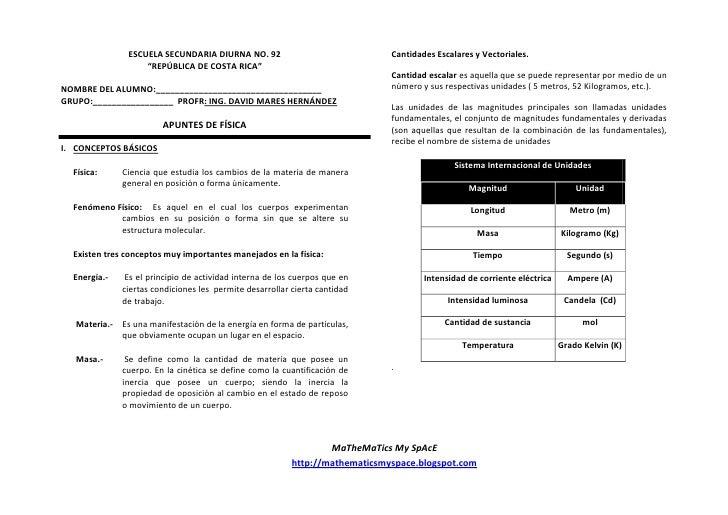 """ESCUELA SECUNDARIA DIURNA NO. 92                              Cantidades Escalares y Vectoriales.                     """"REP..."""