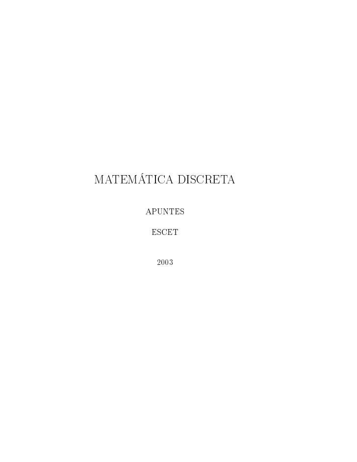 MATEMÁTICA DISCRETA        APUNTES         ESCET           2003