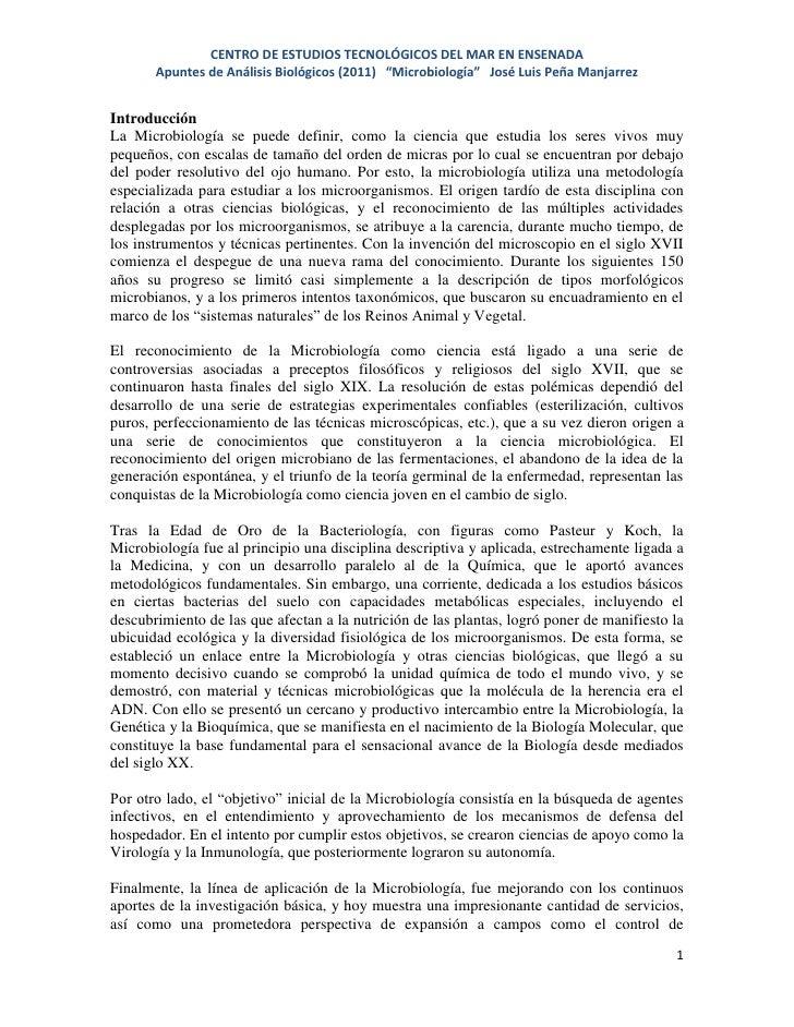 """CENTRO DE ESTUDIOS TECNOLÓGICOS DEL MAR EN ENSENADA       Apuntes de Análisis Biológicos (2011) """"Microbiología"""" José Luis ..."""