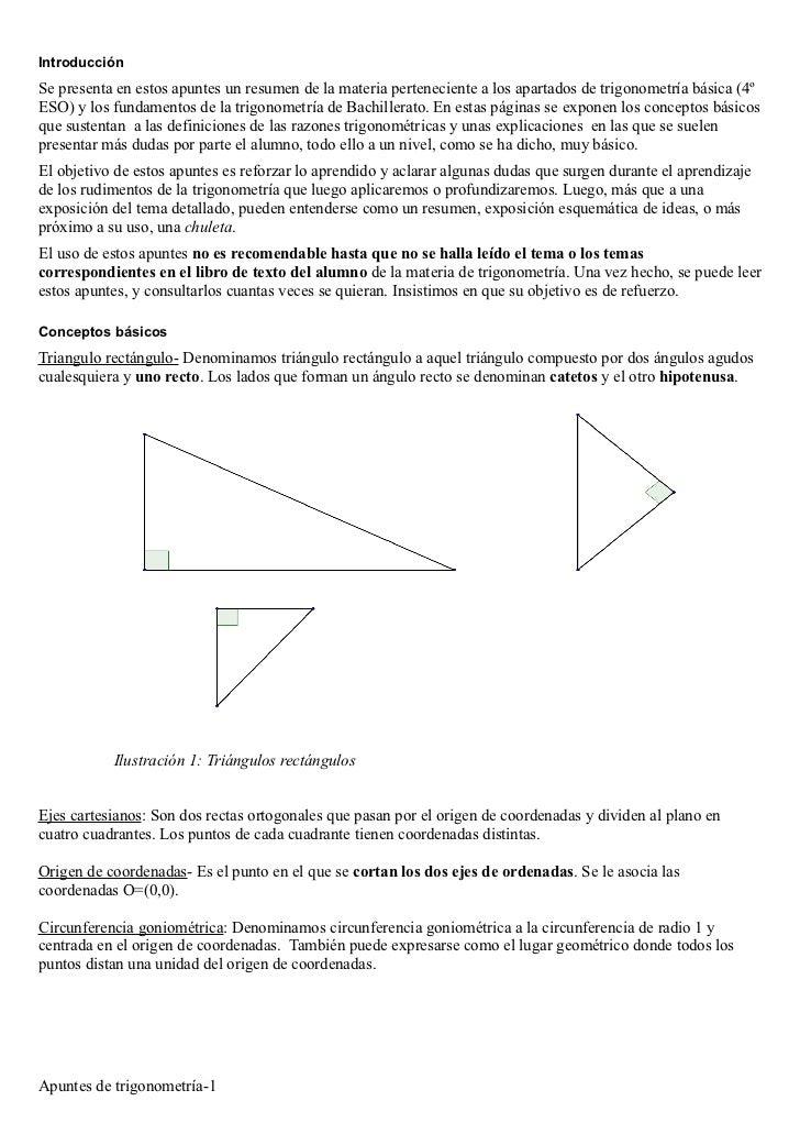 IntroducciónSe presenta en estos apuntes un resumen de la materia perteneciente a los apartados de trigonometría básica (4...