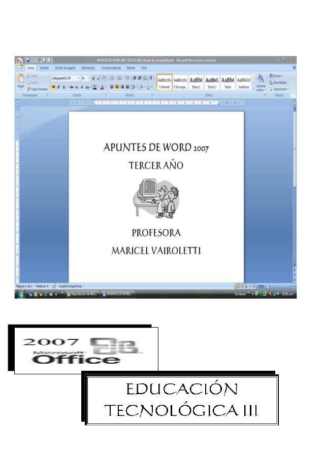 ∇ Elementos de la pantalla inicial de Word 2007                                                                     1. Bot...