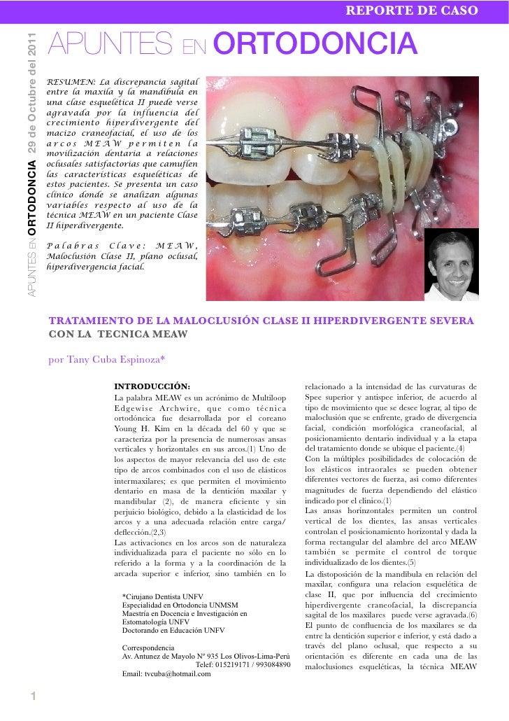 REPORTE DE CASO                                               APUNTES EN ORTODONCIAAPUNTES EN ORTODONCIA 29 de Octubre del...