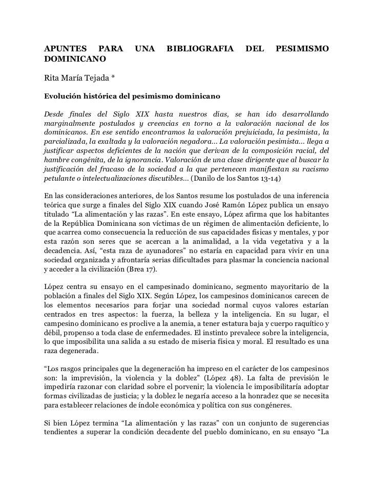 Apuntes para una bibliografia del pesimismo dominicano