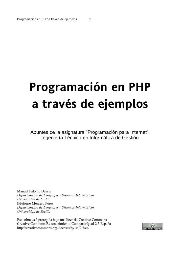 Programación en PHP a través de ejemplos     1        Programación en PHP        a través de ejemplos        Apuntes de la...
