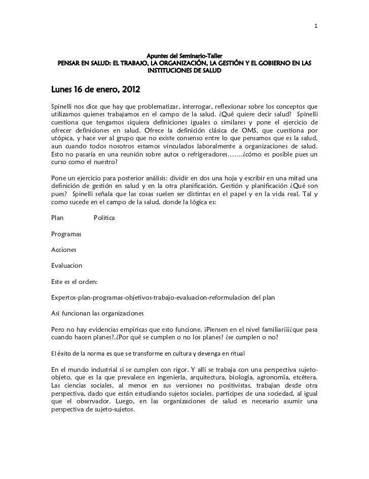 Apuntes seminario pensar en salud spinelli 2012