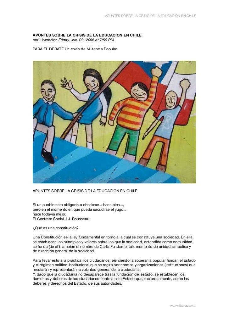Apuntes sobre la crisis de la educacion en chile