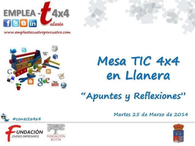 """Martes 25 de Marzo de 2014 """"Apuntes y Reflexiones"""" Mesa TIC 4x4 en Llanera #conecta4x4"""