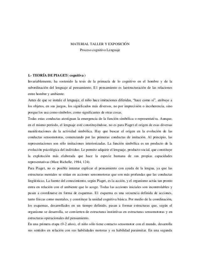 MATERIAL TALLER Y EXPOSICIÓNProceso cognitivo Lenguaje1.- TEORÍA DE PIAGET( cognitiva )Invariablemente, ha sostenido la te...