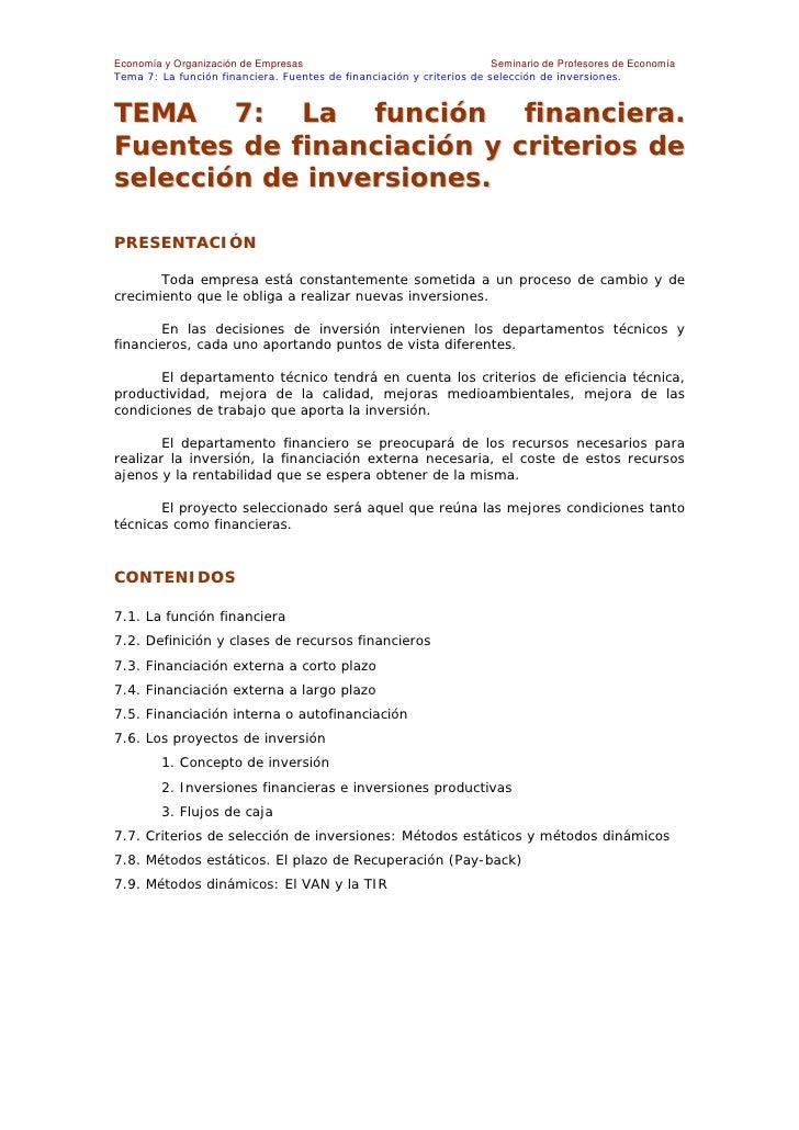 Economía y Organización de Empresas                                    Seminario de Profesores de Economía Tema 7: La func...