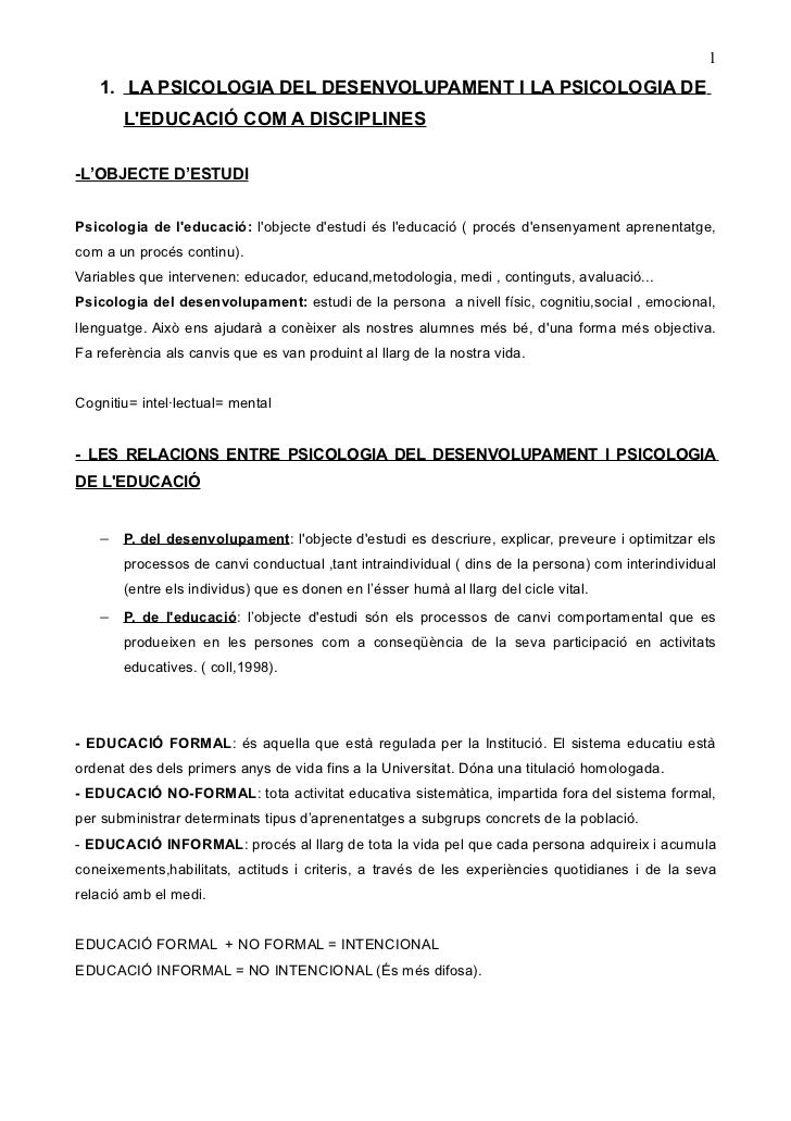 1   1. LA PSICOLOGIA DEL DESENVOLUPAMENT I LA PSICOLOGIA DE       LEDUCACIÓ COM A DISCIPLINES-L'OBJECTE D'ESTUDIPsicologia...