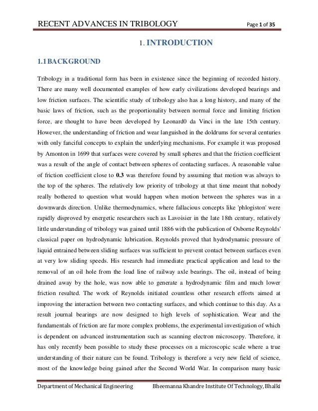 RECENT ADVANCES IN TRIBOLOGY Page 1 of 35 Department of Mechanical Engineering Bheemanna Khandre Institute Of Technology, ...