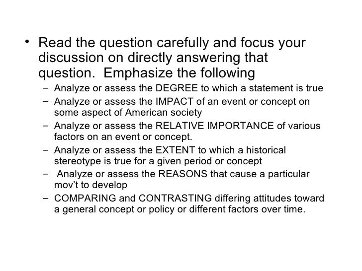 write good dbq essay ap Document based question (dbq) essay you will have 40 minutes to write the essay 10 minute reading period group and analyze the documents you will be given between 4 to 10 documents documents may include maps, pictures, and charts.