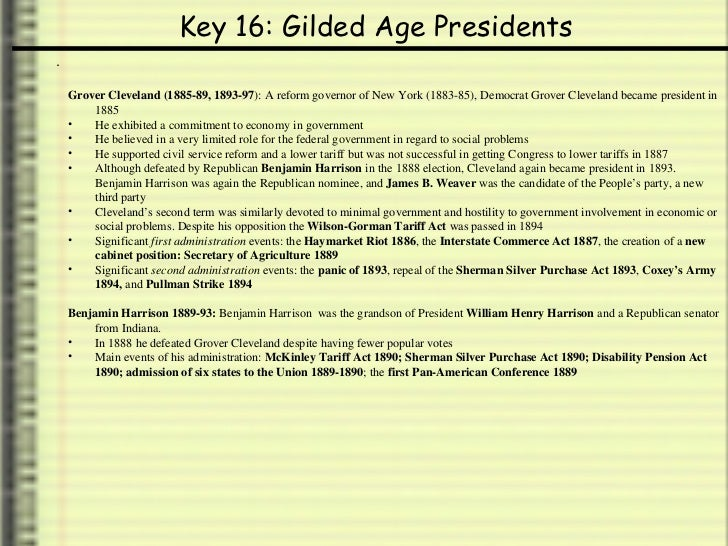 forgotten presidents of gilded age Gilded age (1870-1900) politically corrupt internally term coined by mark twain as business boomed, strong north-south divisions remained corruption in both business.