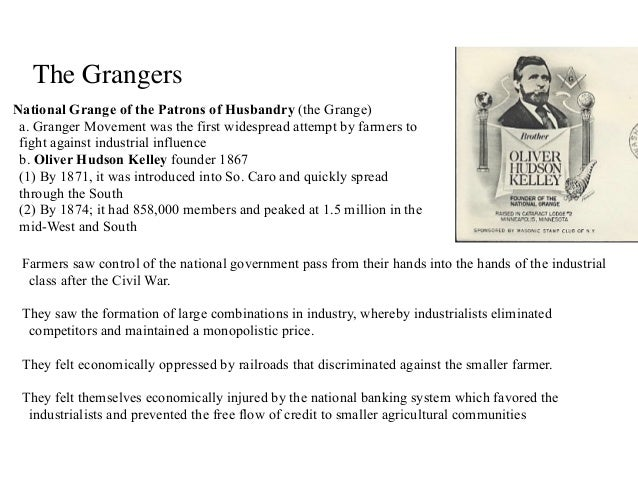 Apush lecture ch 19 - National grange of the patrons of husbandry ...