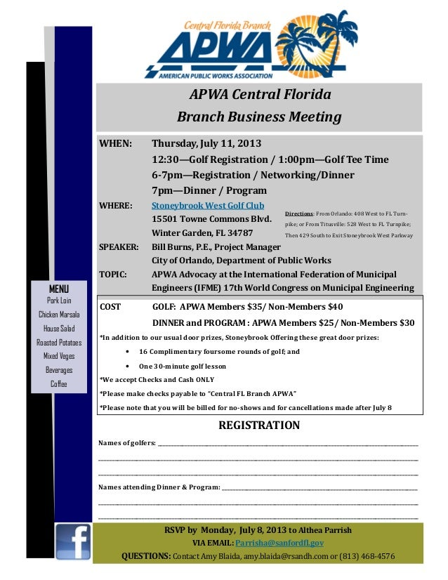 APWA Central FL Branch July 2013 Business Meeting