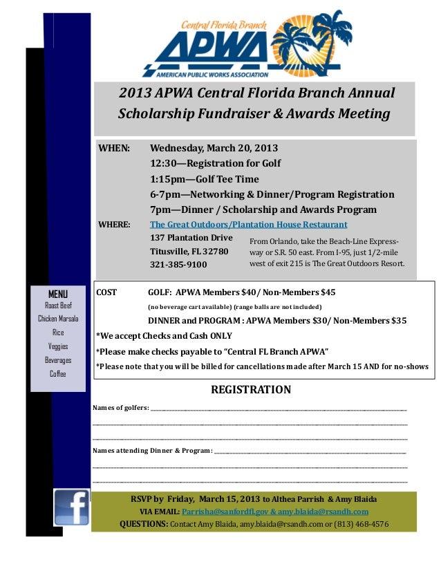 Apwa CFB March 2013 scholarship fundraiser & awards mtg
