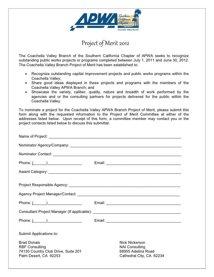 Project of Merit 2012The Coachella Valley Branch of the Southern California Chapter of APWA seeks to recognizeoutstanding ...