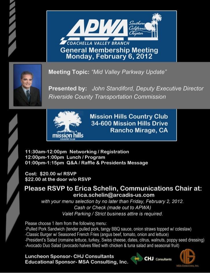 APWA Mid Valley Parkway Update Luncheon_02.06.12