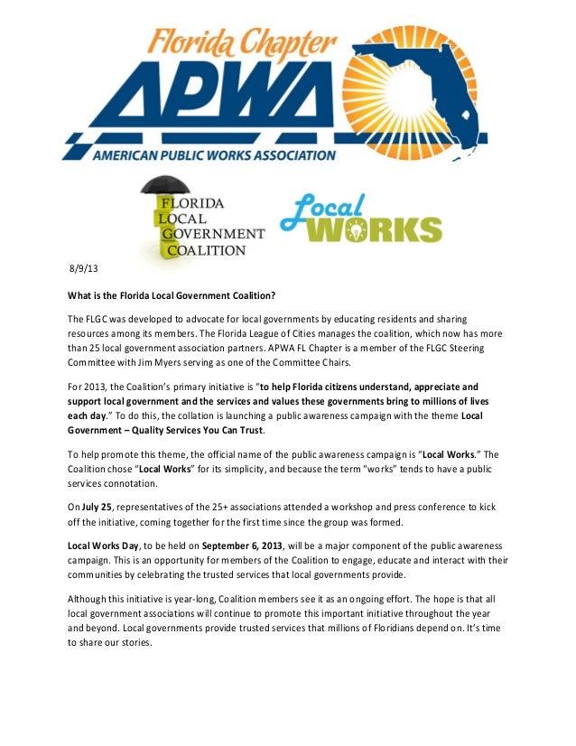 APWA FL & the FL Local Government Coalition - Local Works!