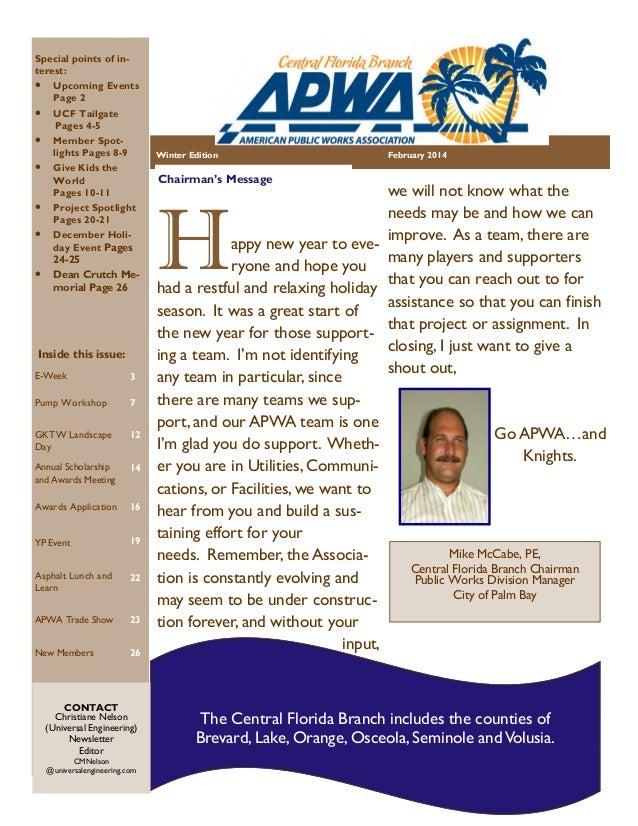 APWA Central FL Branch FEB 2014 Newsletter